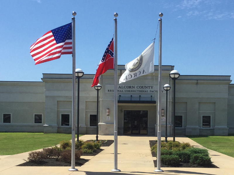 Alcorn County Correctional Facility Main entrance flags